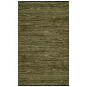 Matador Green Leather Chindi Rectangular: 4 Ft. x 6 Ft. Rug