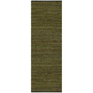 Matador Green Leather Chindi Rectangular: 2 Ft. 5 In. x 12 Ft. Runner