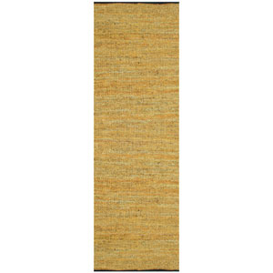 Matador Gold Leather Chindi Rectangular: 2 Ft. 5 In. x 12 Ft. Runner