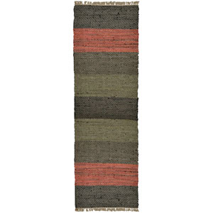 Matador Striped Leather Flat Weave Runner: 2 Ft. 6 In. x 12 Ft. Rug