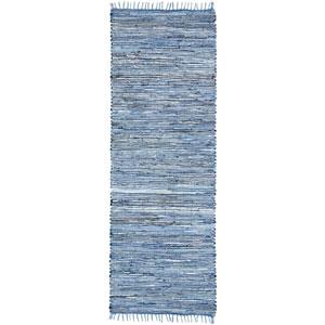 Matador Blue Dhurry Runner: 2 Ft 6 In x 8 Ft Rug
