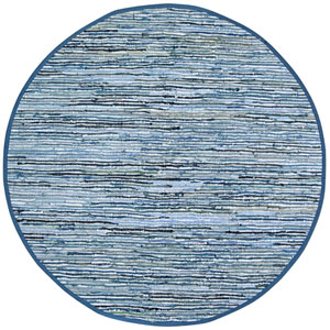 Matador Blue Dhurry Round: 3 Ft Rug