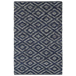 Matador Blue and White Diamonds Rectangular: 4 Ft x 6 Ft Rug