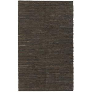 Leather Chindi Brown Rectangular: 5 Ft. x 8 Ft.  Rug