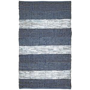 Matador Blue Striped Leather Flat Weave Rectangular: 5 Ft. x 8 Ft.