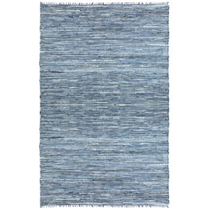 Matador Blue Jeans Denim and Leather Flat Weave Rectangular: 9 Ft. x 12 Ft. Rug