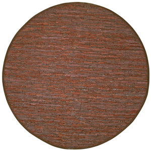 Matador Brown Leather Flat Weave Round: 8 Ft. x 8 Ft. Rug
