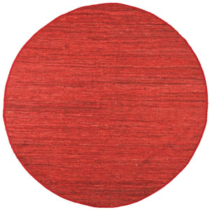 Matador Red Leather Flat Weave Round: 6 Ft. x 6 Ft. Rug