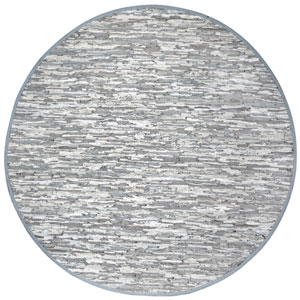 Matador White Leather Flat Weave Round: 6 Ft. x 6 Ft. Rug