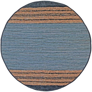 Matador Gray Leather Flat Weave Round: 6 Ft. x 6 Ft. Rug