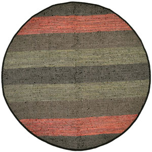 Striped Matador Leather Flat Weave Round: 6 Ft. x 6 Ft. Rug