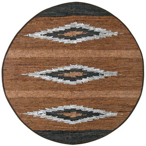 Matador Diamond Leather Flat Weave Round: 6 Ft. x 6 Ft. Rug