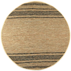 Matador Tan Leather Flat Weave Round: 6 Ft. x 6 Ft. Rug