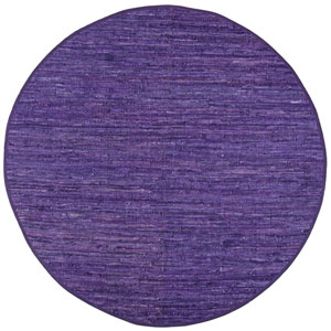 Matador Purple Leather Flat Weave Round: 6 Ft. x 6 Ft. Rug