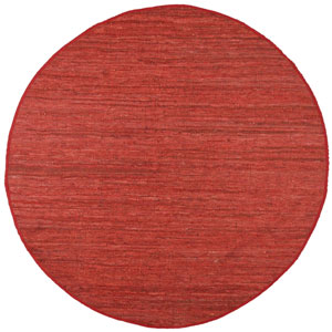 Matador Copper Leather Flat Weave Round: 8 Ft. x 8 Ft. Rug