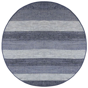 Blue Stripes Leather Matador 6 Ft. x 6 Ft. Round Rug