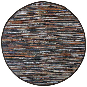 Matador Brown Striped Leather Flat Weave Round: 6 Ft. x 6 Ft. Rug