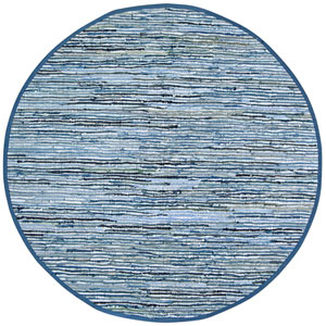 Matador Blue Jeans Denim and Leather Flat Weave Round: 6 Ft. x 6 Ft. Rug