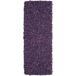 Pelle Purple Leather Rectangular: 2 Ft. 5 In. x 8 Ft. Runner