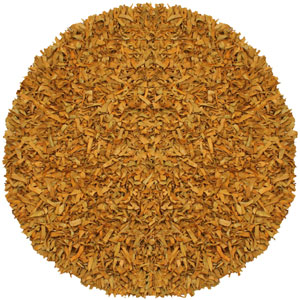 Pelle Gold Leather Round: 6 Ft. Rug
