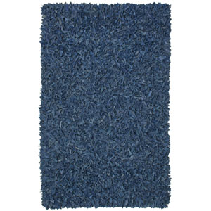 Pelle Blue Leather Rectangular: 5 Ft. x 8 Ft. Rug