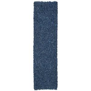 Pelle Blue Leather Rectangular: 2 Ft. 5 In. x 8 Ft. Runner