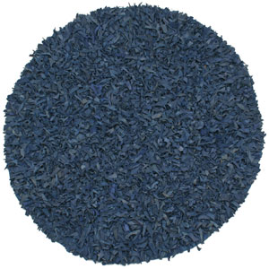 Pelle Blue Leather Round: 6 Ft. Rug