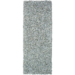 Pelle Leather Shag Gray Runner: 2 ft. 6 in. x 8 ft. Rug