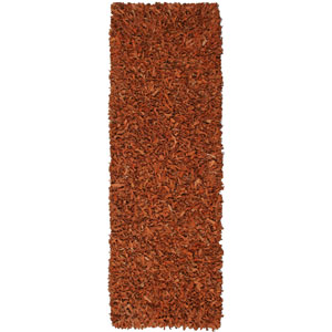 Pelle Leather Shag Copper Runner: 2 ft. 6 in. x 12 ft. Rug