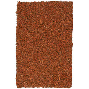 Pelle Leather Shag Copper Rectangular: 5 ft. x 8 ft. Rug