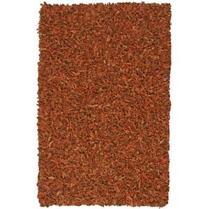 Pelle Leather Shag Copper Rectangular: 2 ft. 6 in. x 4 ft. 2 in. Rug
