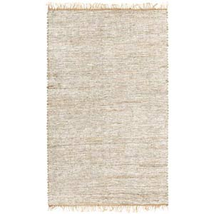Leather Hemp White Rectangle: 5 Ft. x 8 Ft. Rug