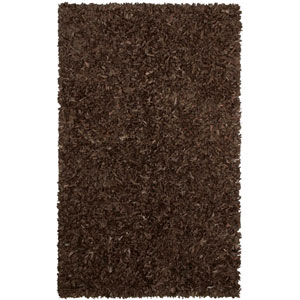 Pelle Leather Shag Dark Brown Rectangular: 2 Ft. 6 In. x 4 Ft. 2 In. Rug