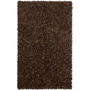 Dark Brown Leather Shag Rectangular: 5 Ft. x 8 Ft. Rug