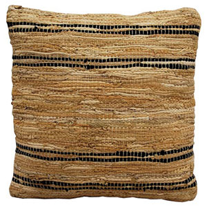 Matador Tan and Black 18-Inch Leather Chindi Pillow