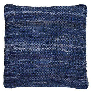 Matador Blue 18-Inch Leather Chindi Pillow