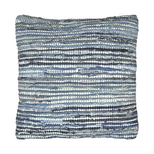 Matador Blue Denim and Leather Chindi Pillow