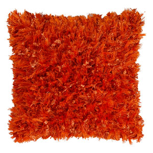 Orange Shimmer Shag 18-Inch Pillow
