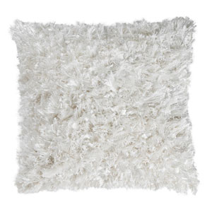 White Shimmer Shag 18-Inch Pillow