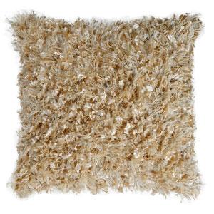 Beige Shimmer Shag 18-Inch Pillow