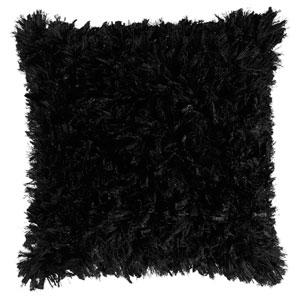 Black Shimmer Shag 24-Inch Pillow