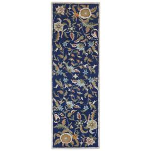 Traditions Blue Paradise Runner: 2 Ft 6 In x 8 Ft Rug