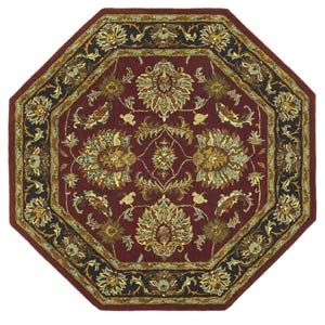 Agra Burgundy Octagon: 6 Ft. x 6 Ft.  Rug