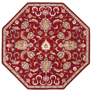 Traditions Red Salvador Octagon: 6 Ft Rug