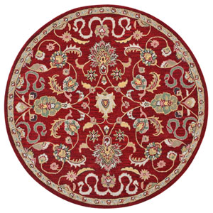 Traditions Red Salvador Round: 6 Ft Rug