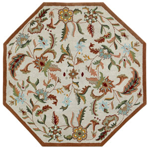 Traditions Brown Paradise Octagon: 6 Ft Rug