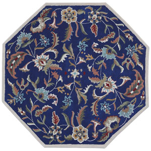 Traditions Blue Paradise Octagon: 6 Ft Rug