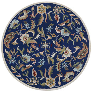 Traditions Blue Paradise Round: 8 Ft Rug
