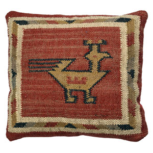 Brick Hacienda Tribal Jute and Wool 18-Inch Pillow