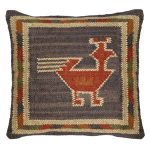 Blue Hacienda Tribal Jute and Wool 18-Inch Pillow